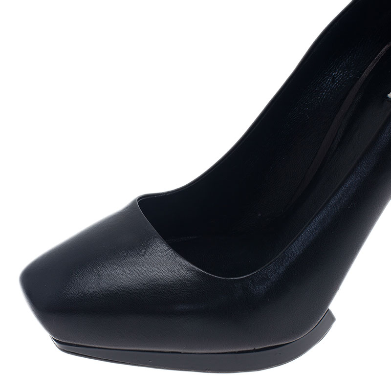 Miu Miu Black Leather Platform Pumps Size 38