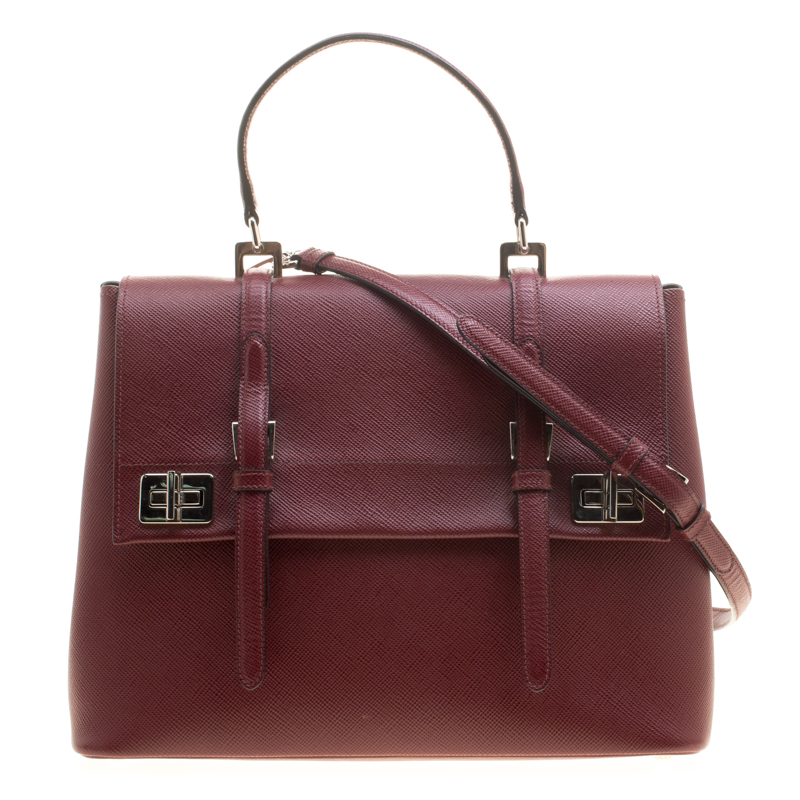 d416e5efc7e1 ... promo code prada burgundy saffiano lux leather top handle bag. nextprev.  prevnext a2a1b 1963f