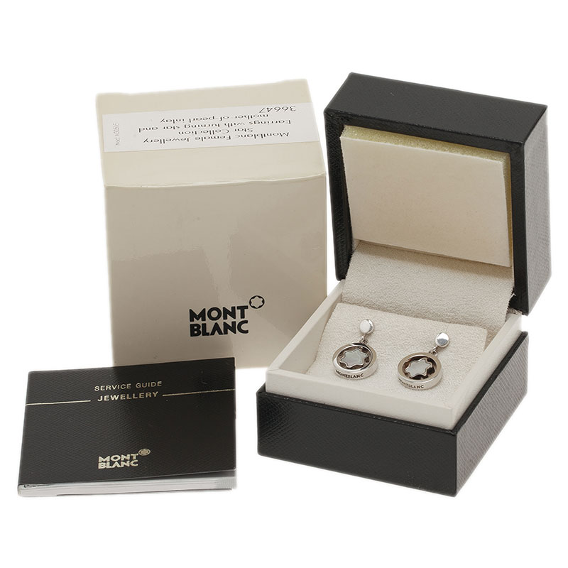 Montblanc Star Signet Mother Of Pearl Silver Dangle Stud Earrings
