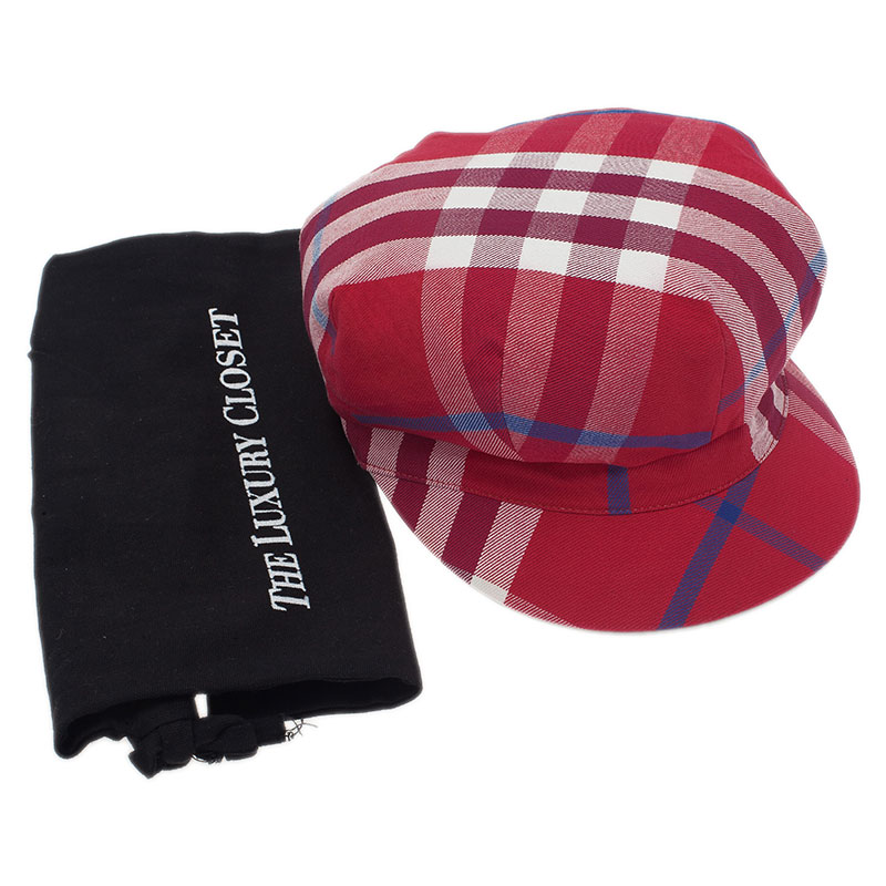 Burberry Red Cotton Novacheck Newsboy Cap Size L