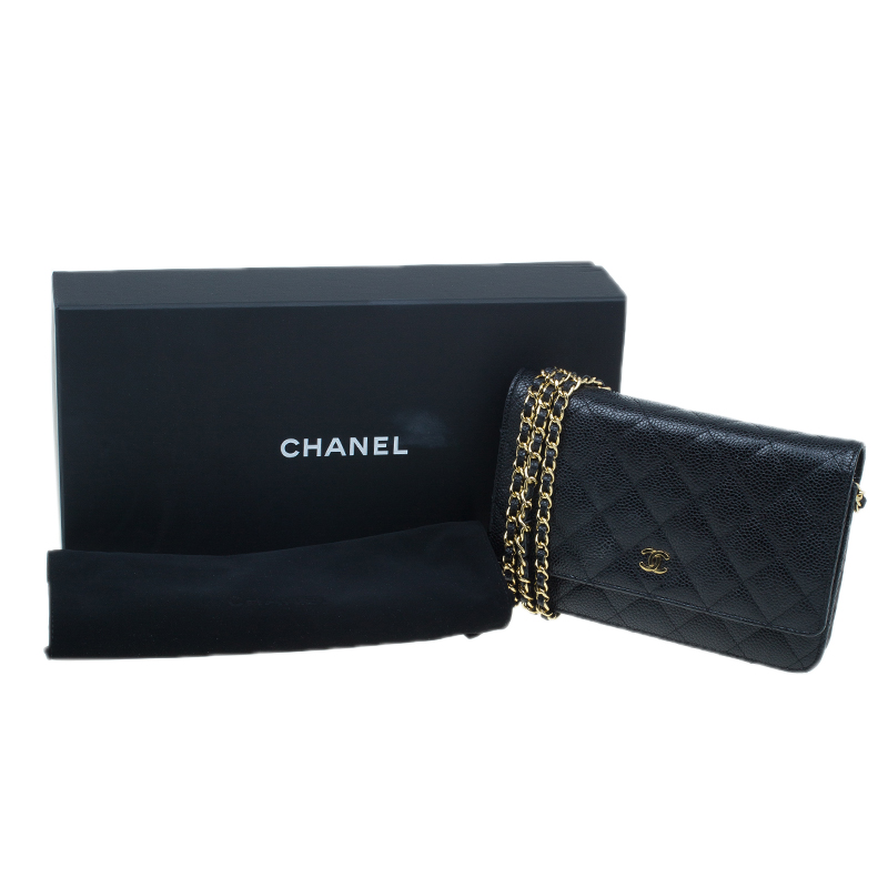 Chanel Black Quilted Caviar Leather WOC Clutch Bag