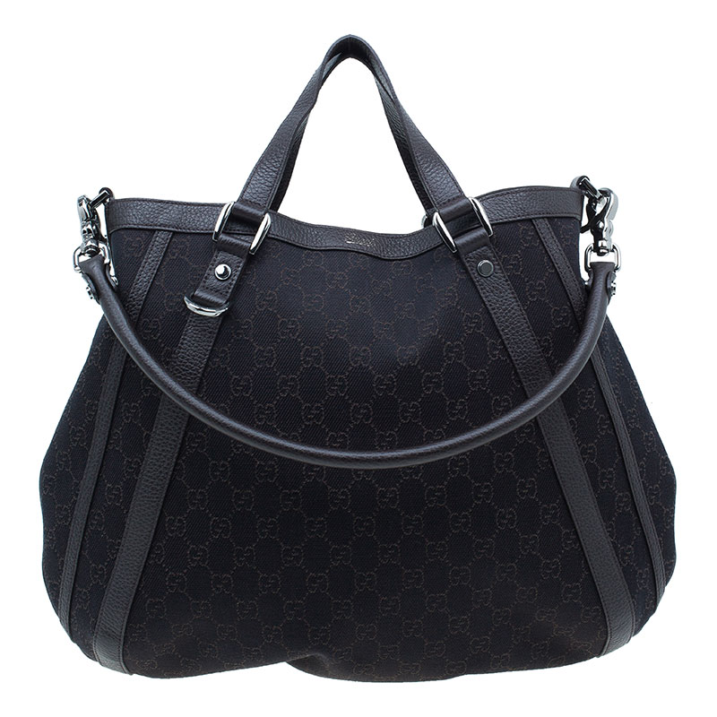 Gucci Dark Brown Monogram Canvas Abbey Convertible Hobo