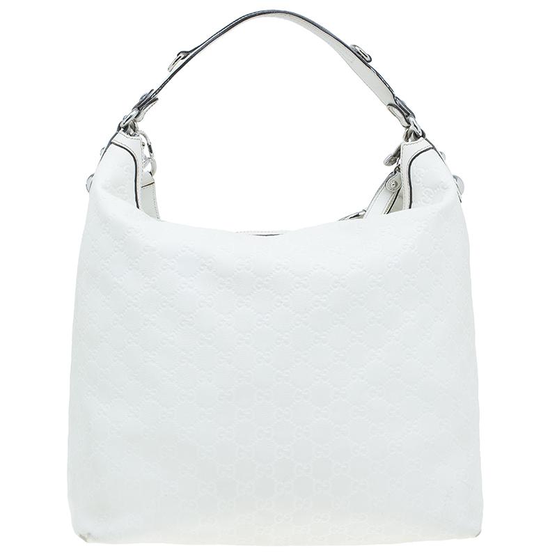 Gucci White Monogram Leather Large Icon Bit Hobo Bag