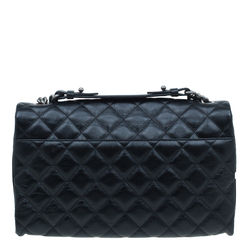 Chanel Black Quilted Goatskin Leather City Rock Flap Bag