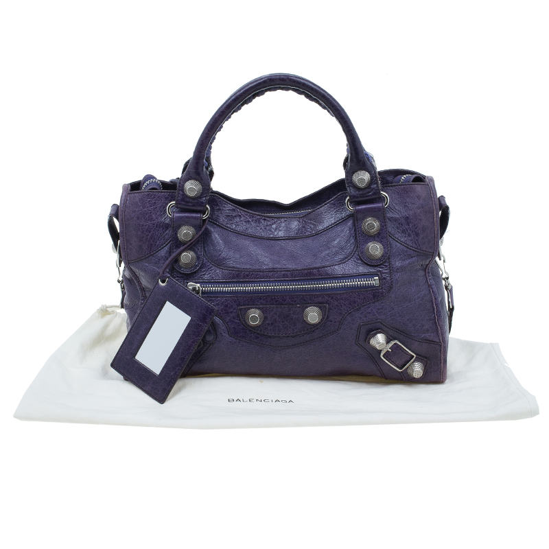 Balenciaga Purple Lambskin Classic City Tote