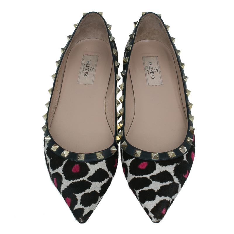 Valentino Leopard Pony Hair Rockstud Ballet Flats Size 39