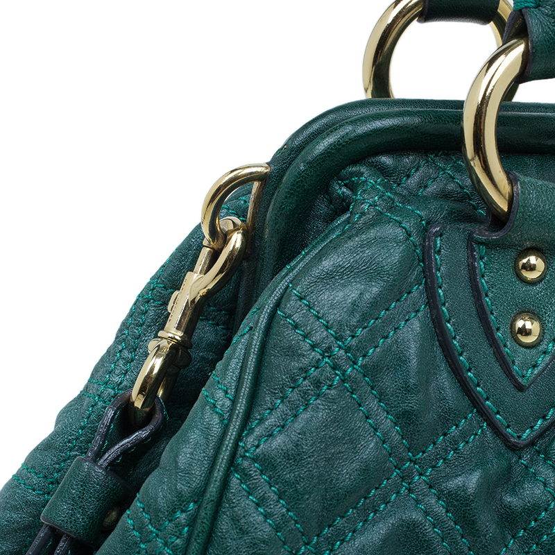 Marc Jacobs Green Quilted Leather Stam Shoulder Bag