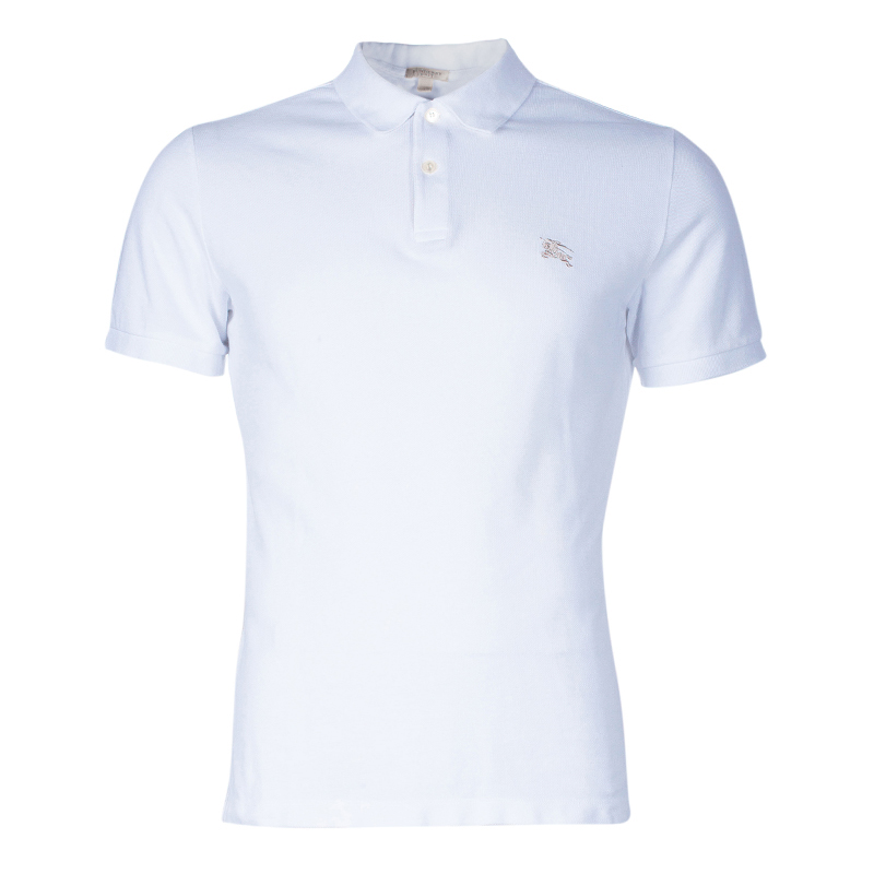 Burberry Men's White Cotton Polo Shirt M