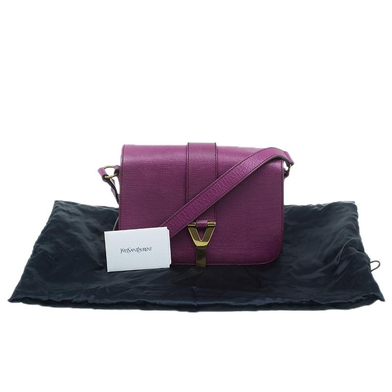 Saint Laurent Paris Purple Leather Classic Y Crossbody