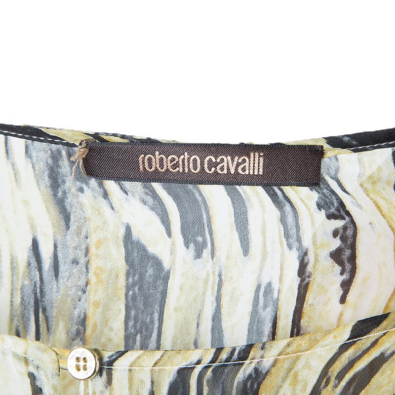 Roberto Cavalli Brown Animal Print Silk Kaftan L