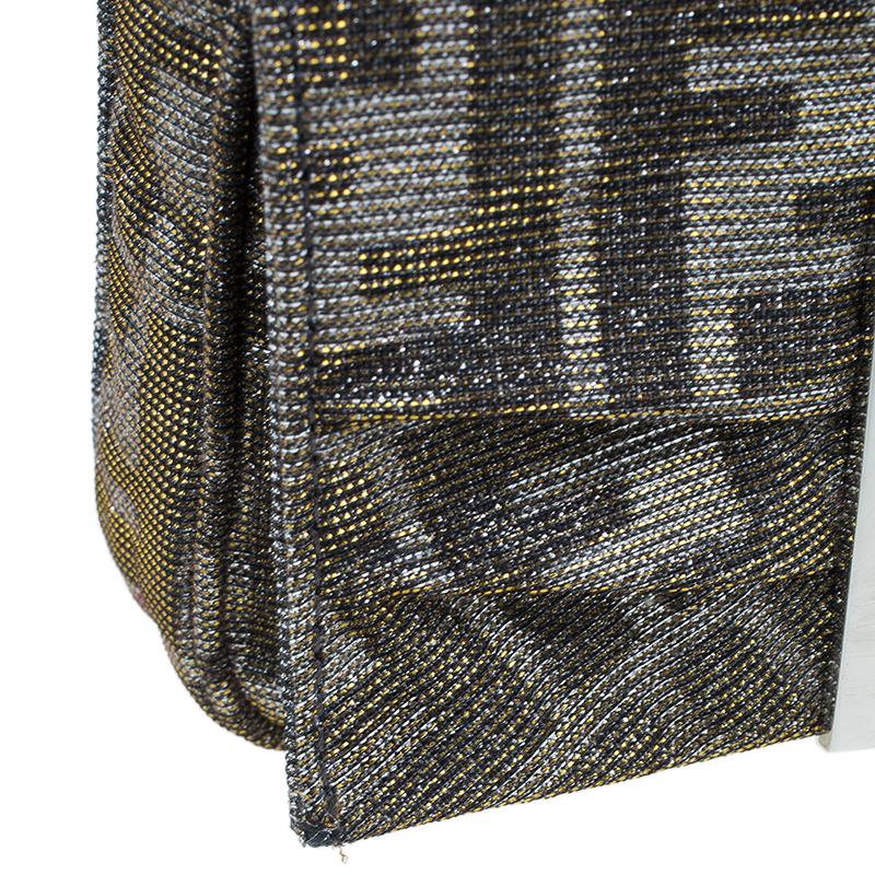 Fendi Metallic Silver Monogram Canvas Mia Evening Bag
