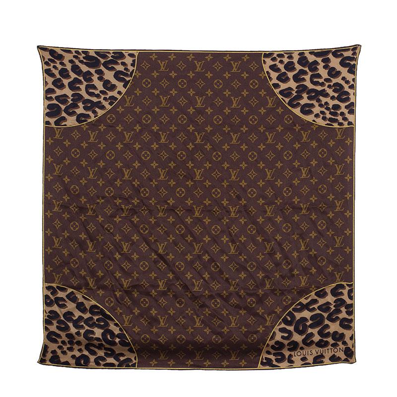 Louis Vuitton Brown Monogram Square Scarf