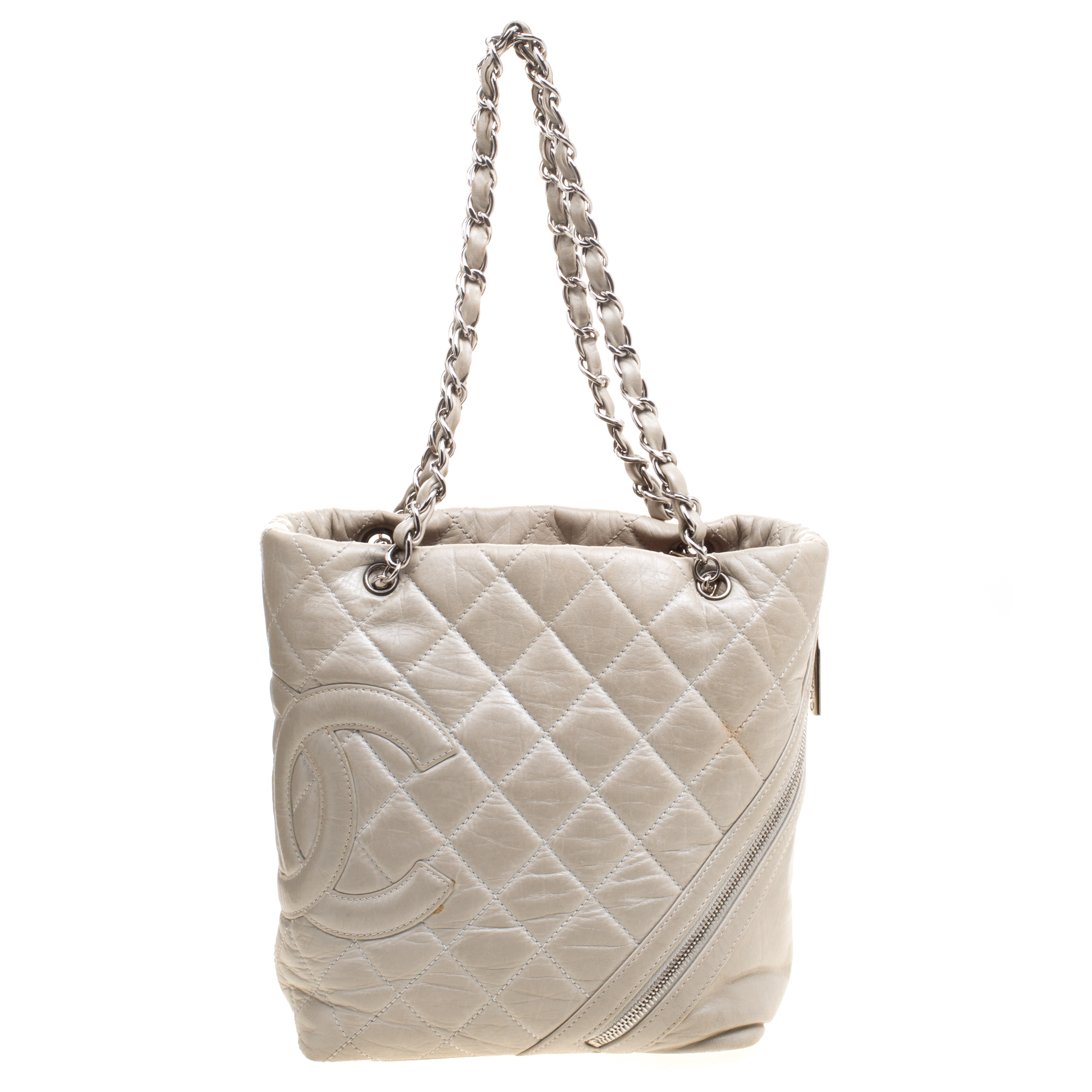 f948b4cc07c83f double flap shoulder bag Source · Chanel Grey Quilted Leather CC Bucket Bag  Buy & Sell LC