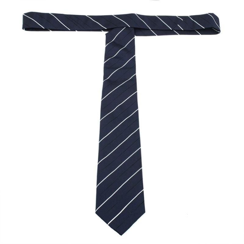 Burberry Navy Blue and White Striped Silk Tie