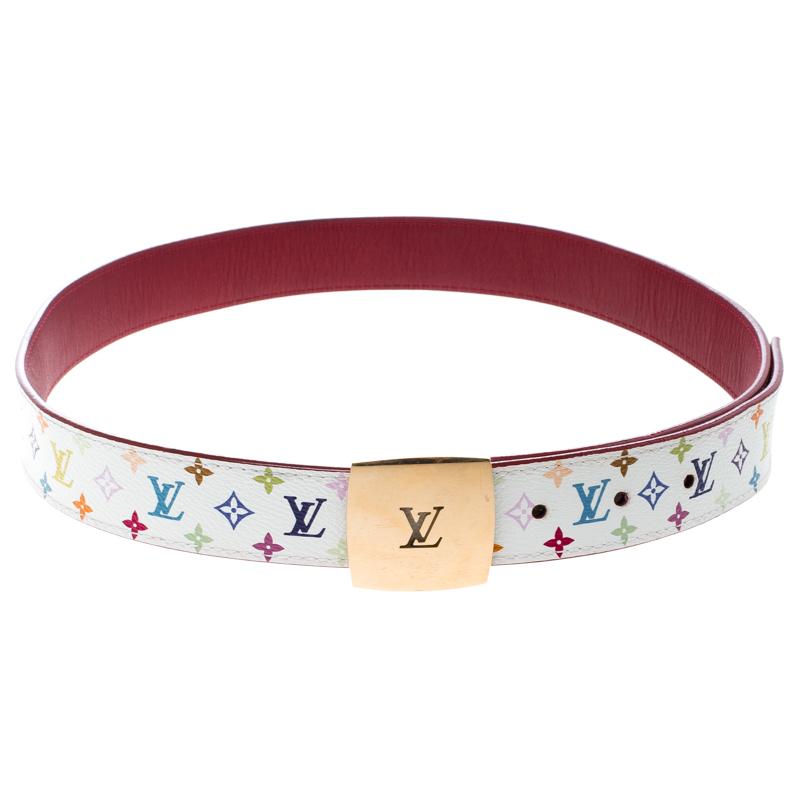 77ccfc1b4bcd Louis Vuitton White Multicolor Monogram Canvas LV Cut Belt 80cm. nextprev.  prevnext
