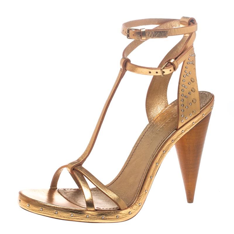 Купить со скидкой Burberry Metallic Gold Leather Hans T Strap Sandals Size 39