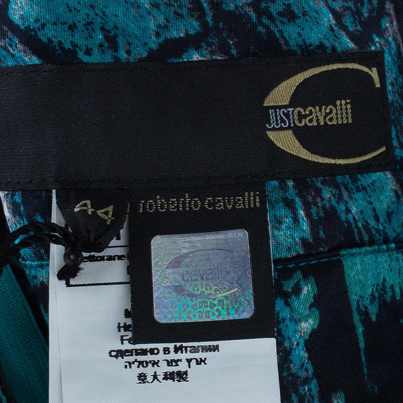 Just Cavalli Turquoise Print Flare Maxi Skirt M