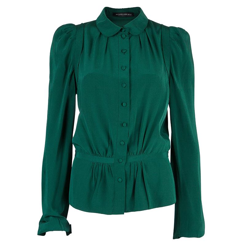 Balenciaga Green Silk Long Sleeve Blouse M