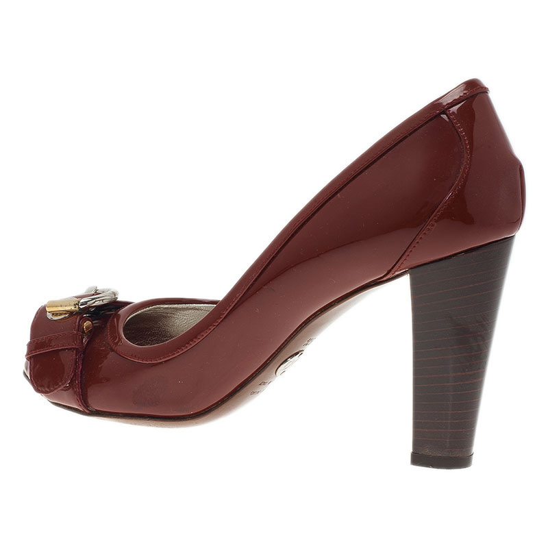 Dolce and Gabbana Red Patent Buckle Detail Peep Toe Pumps Size 39.5