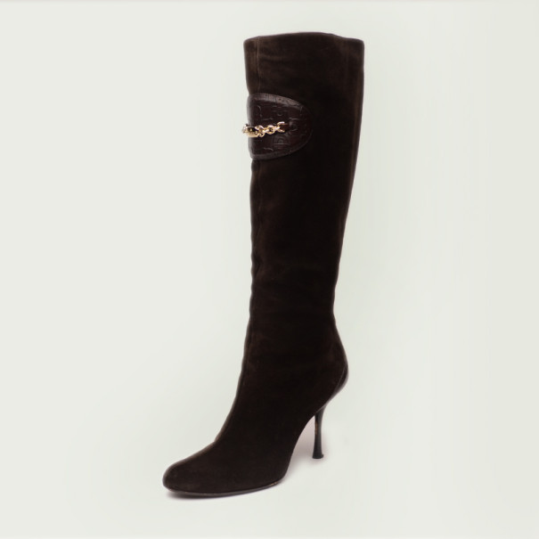 gucci brown suede knee length boots size 38 buy sell lc