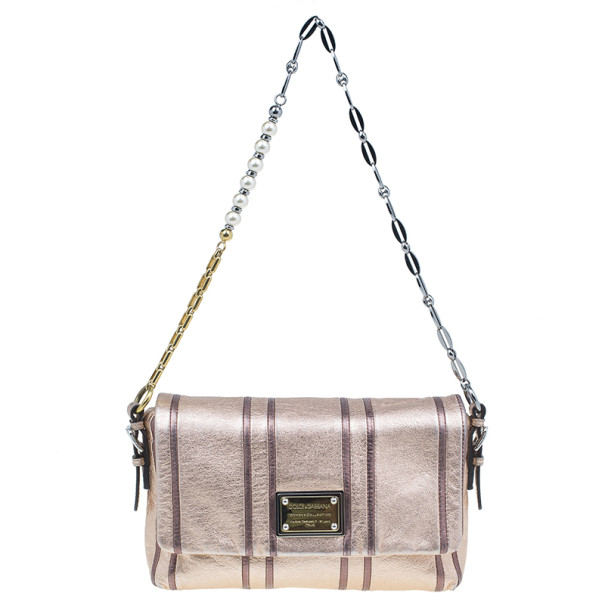 Dolce and Gabbana Metallic Pink Leather Miss Charles Shoulder Bag