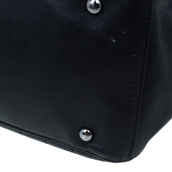 Chanel Black Leather CC Camellia No.5 Shopper Tote