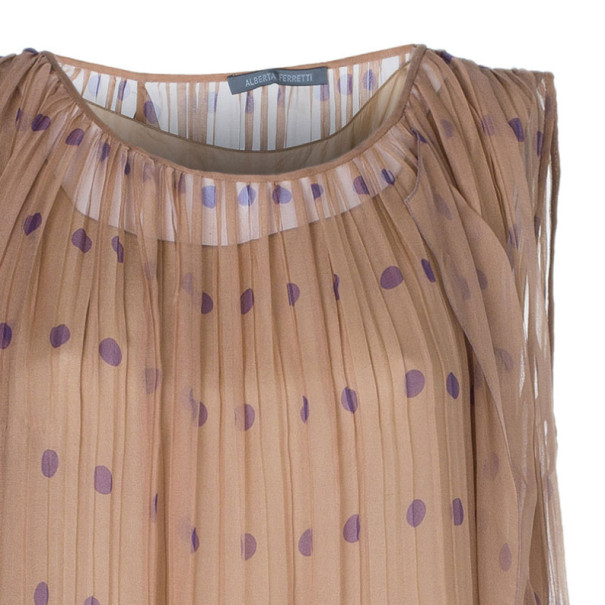 Alberta Ferretti Pleated Printed Dress M