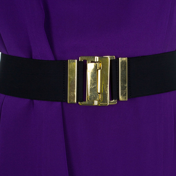 Gucci Satin Drape Neck Belted Dress M