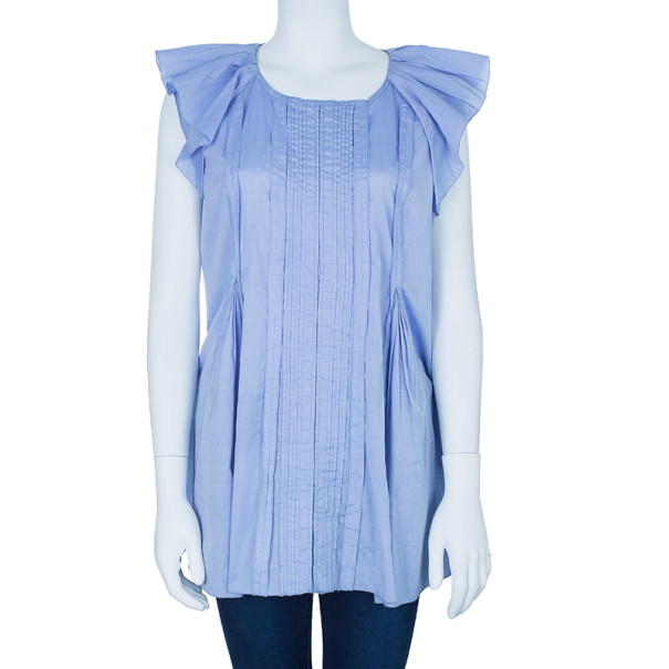 Prada Light Blue Pleated Detail Top XL