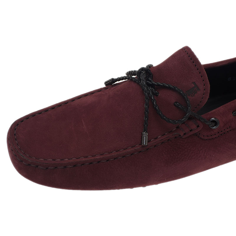 Tod's Burgundy Suede Bow Loafers Size 42.5
