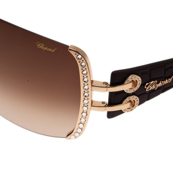Chopard Black and Gold SCH935S Shield Sunglasses