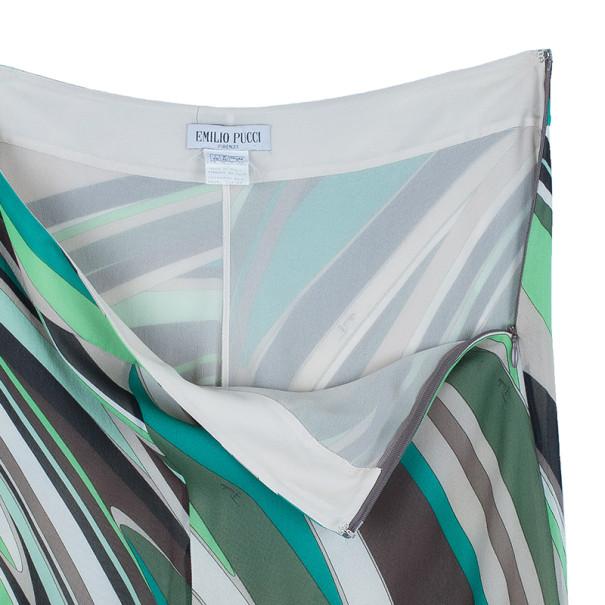 Emilio Pucci Printed Silk Wide Leg Pants M