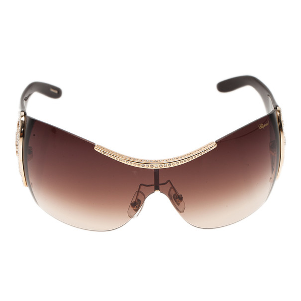 Chopard Brown SCH888O Shield Sunglasses