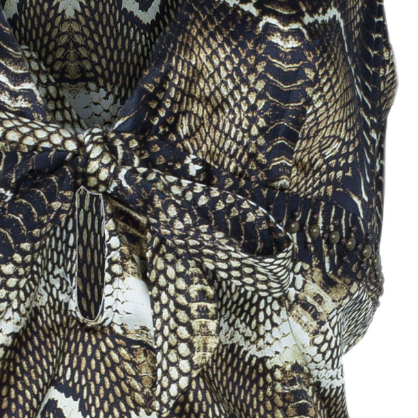 Roberto Cavalli Short Sleeve Stretch Printed Top L