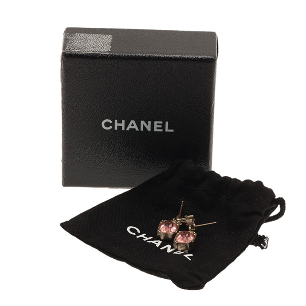 Chanel CC Pink Crystal Small Earrings