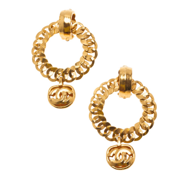 Chanel Vintage CC Gold-Tone Earrings
