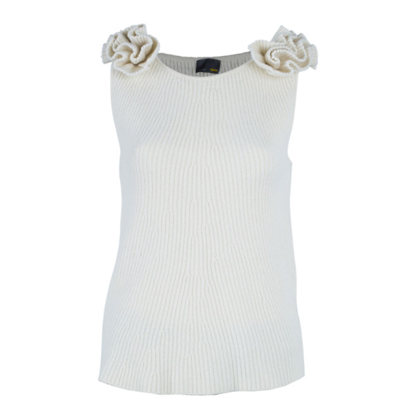 Fendi Off-White Floral Detail Knit Top M
