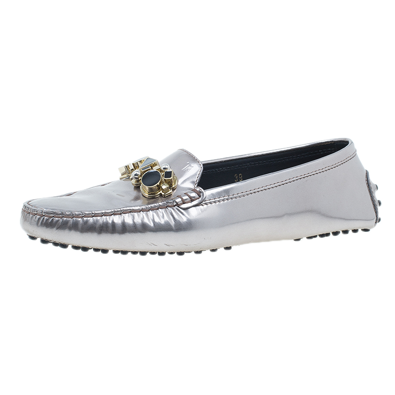 Tod's Metallic Leather Embellished Gommino Loafers Size 39