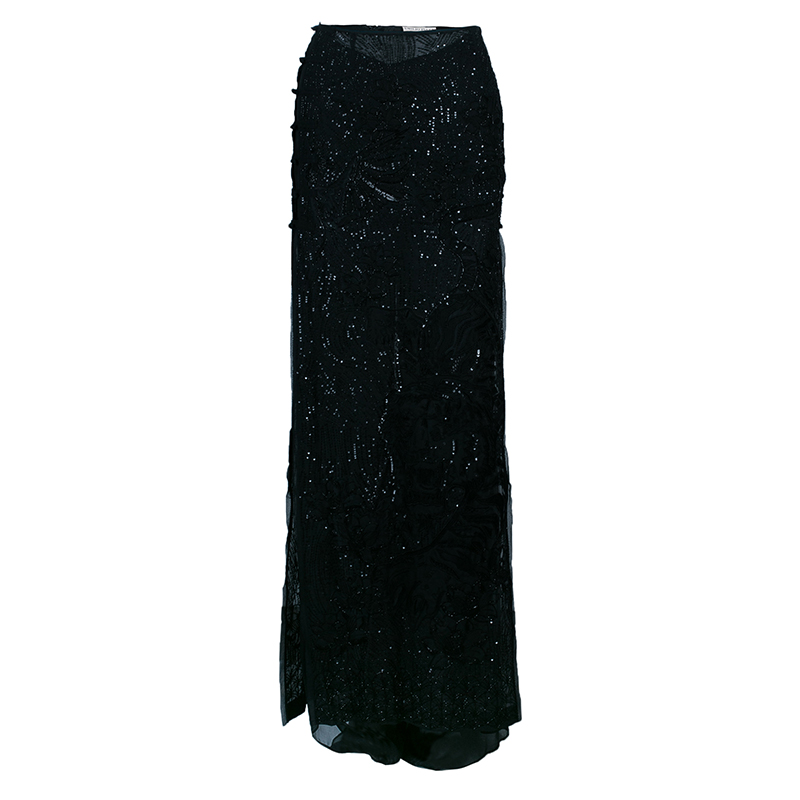 Emilio Pucci Black Beaded Maxi Skirt M