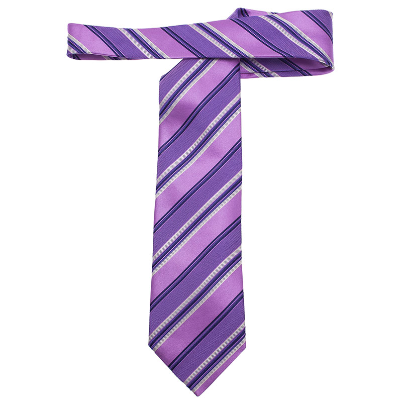 Ermenegildo Zegna Purple Silk Striped Tie