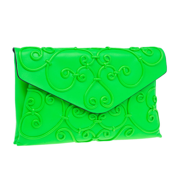 Valentino Neon Green Leather Intrigate Clutch