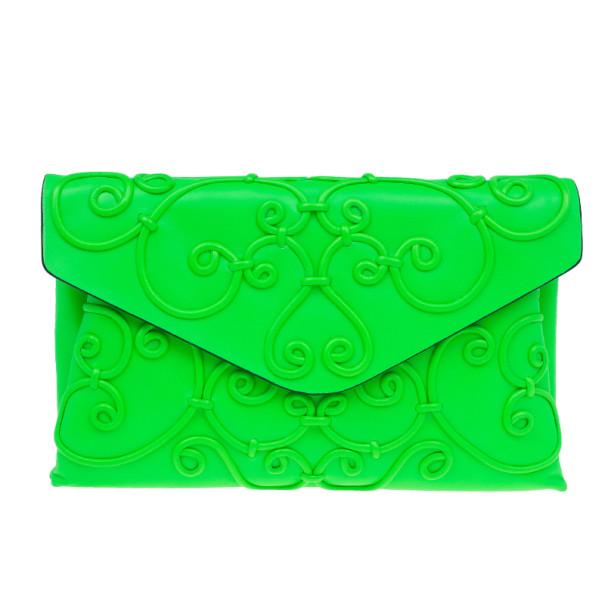 Valentino Neon Green Leather Intrigate Clutch
