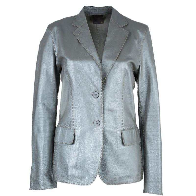 Fendi Metallic Grey Leather Blazer L