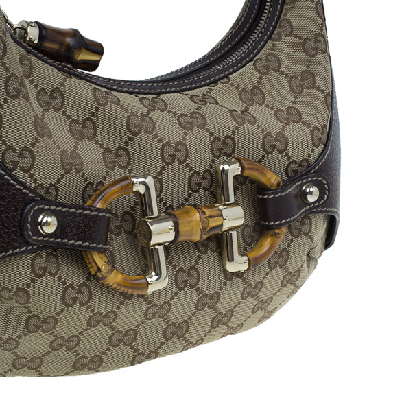 Gucci Brown Canvas Small GG Monogram Amalfi Hobo