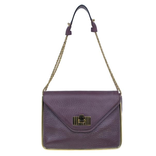 Chloe Purple Leather Medium Sally Crossbody Bag