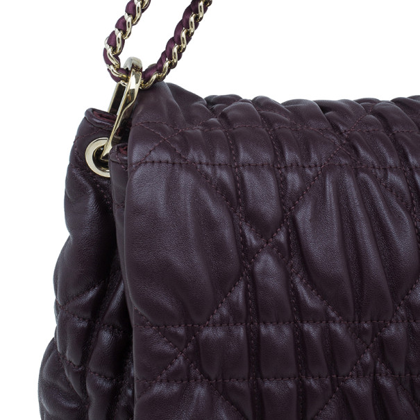 Dior Purple Lambskin Large Cannage Quilted Flap Shoulder Bag