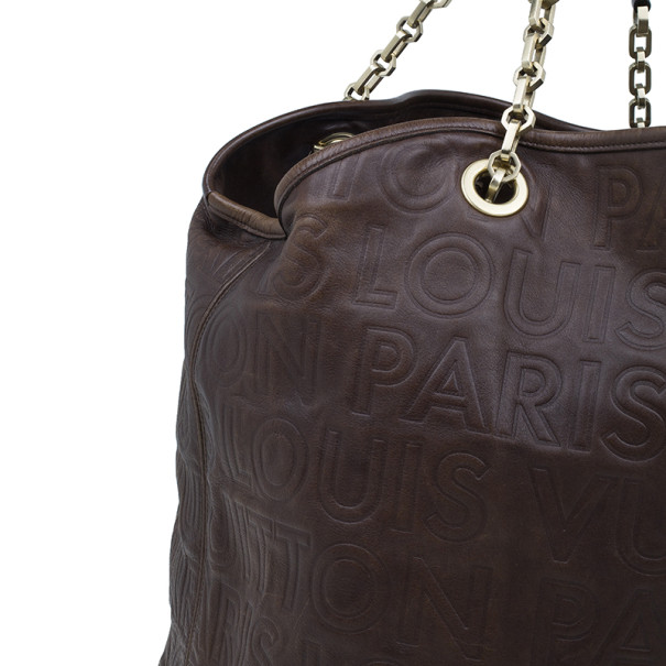 Louis Vuitton Brown Embossed Leather Paris Souple Whisper GM