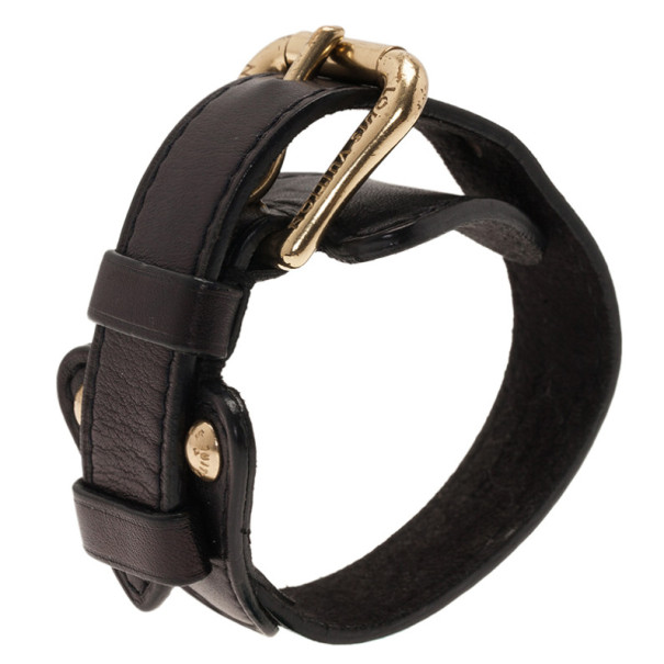 Louis Vuitton Black Leather Bracelet 19.5CM