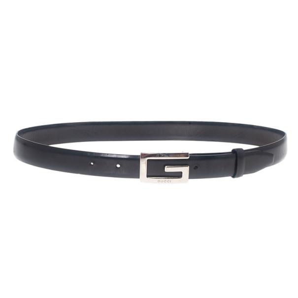 Gucci Black Leather G Buckle Belt 75CM