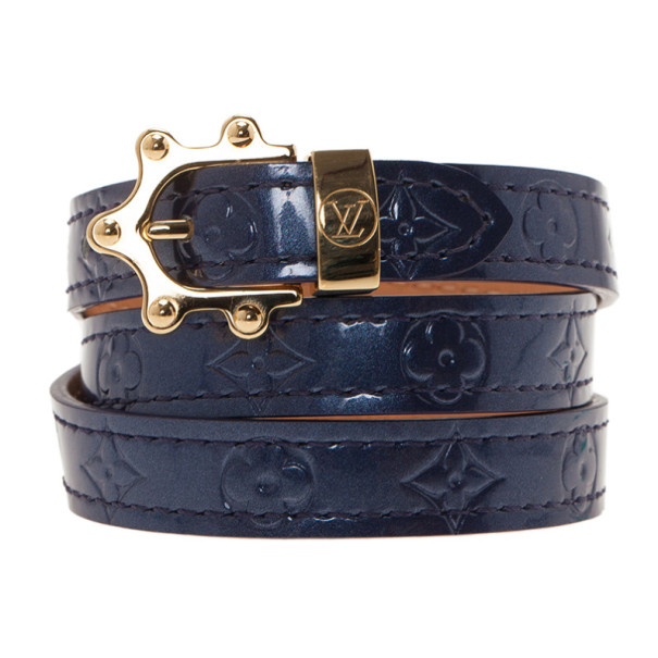 Louis Vuitton Blue Vernis Monogram Triple Tour Wrap Bracelet M